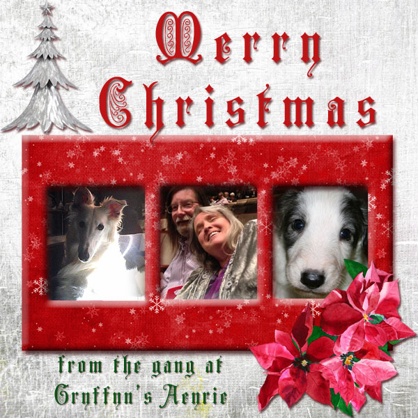 Merry Christmas from Gryffyn's Aeyrie Borzoi and Silken Windhounds